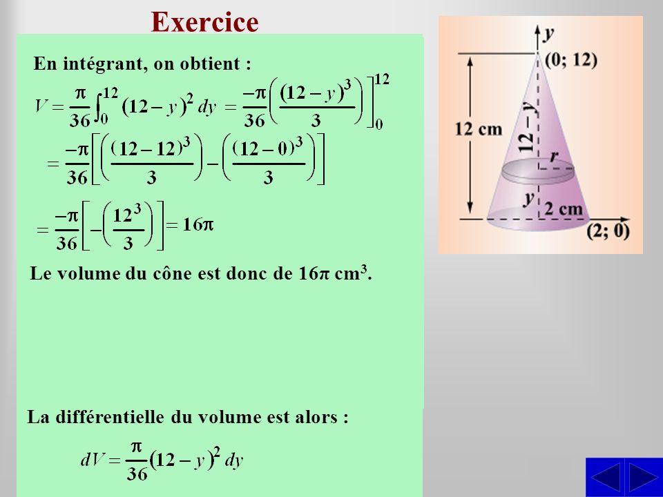 Exercice Déterminer le volume du cône droit dont le rayon de la base est de 2 cm et la hauteur est de 12 m.