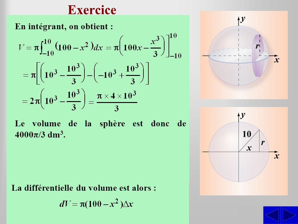 Exercice Déterminer le volume de la sphère dont le rayon est de 10 dm.