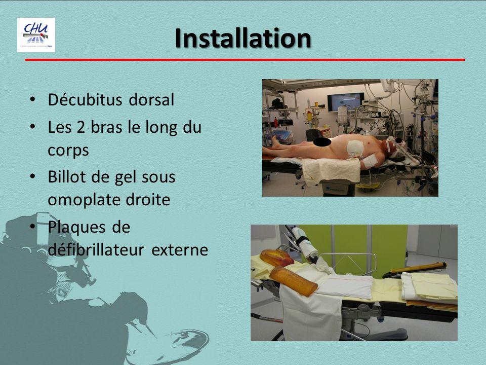 Installation Décubitus dorsal Les 2 bras le long du corps