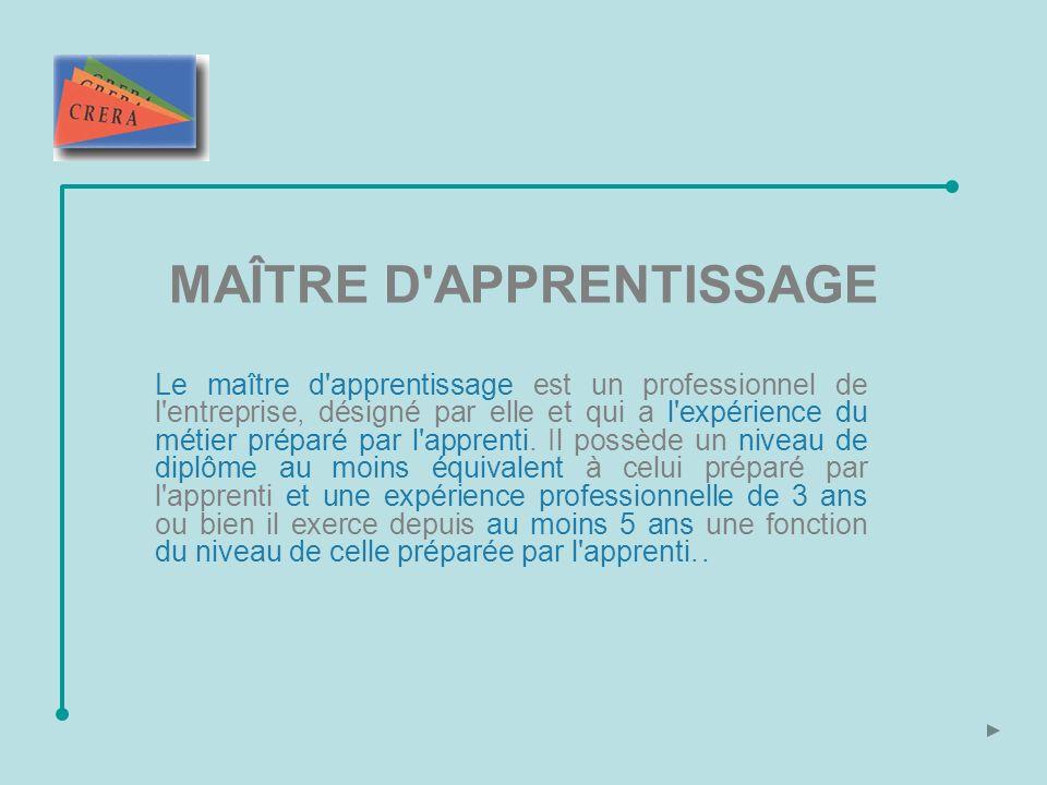MAÎTRE D APPRENTISSAGE