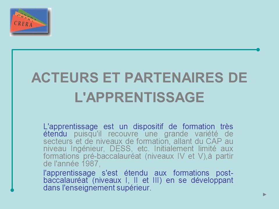 ACTEURS ET PARTENAIRES DE L APPRENTISSAGE