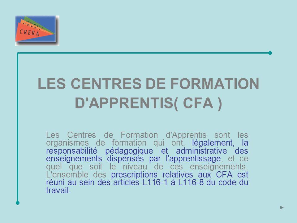 LES CENTRES DE FORMATION D APPRENTIS( CFA )