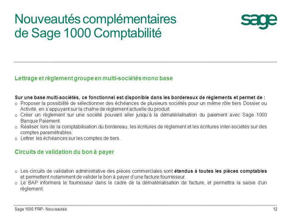 Nouveautés complémentaires de Sage 1000 Comptabilité