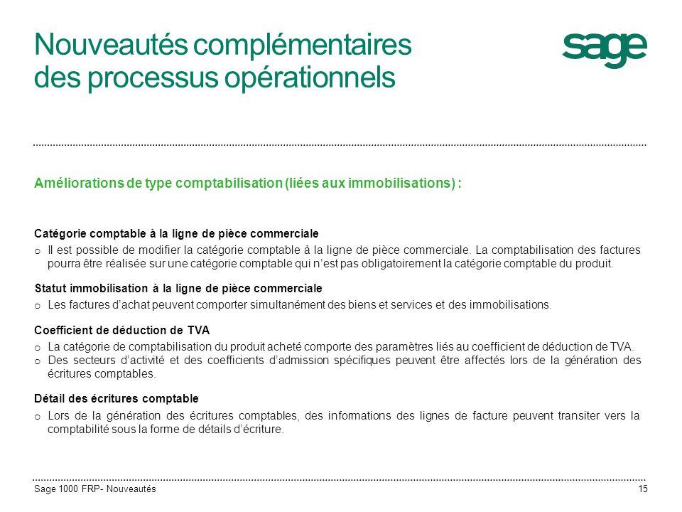 Nouveautés complémentaires des processus opérationnels