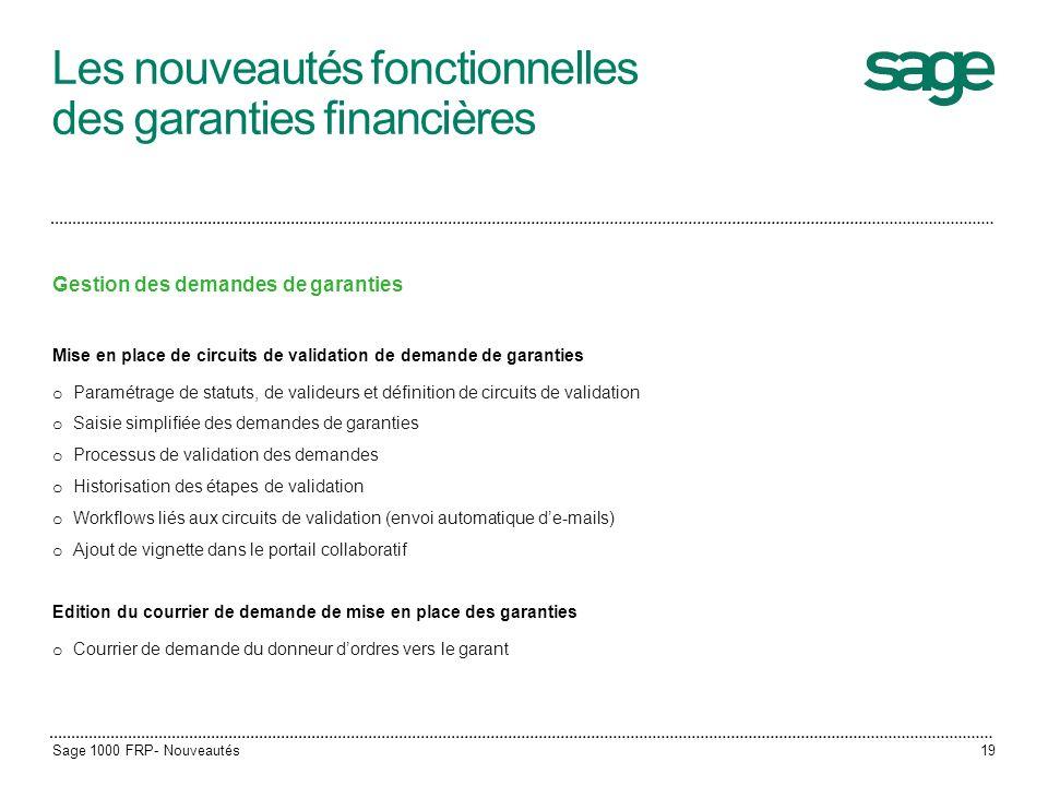 Les nouveautés fonctionnelles des garanties financières