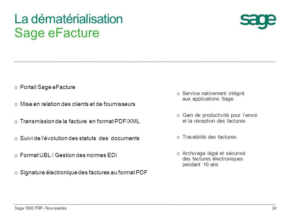 La dématérialisation Sage eFacture