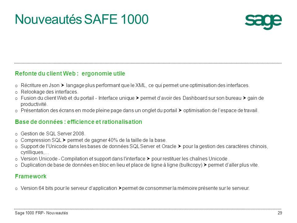 Nouveautés SAFE 1000 Refonte du client Web : ergonomie utile