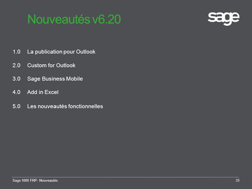 Nouveautés v6.20 1.0 La publication pour Outlook 2.0