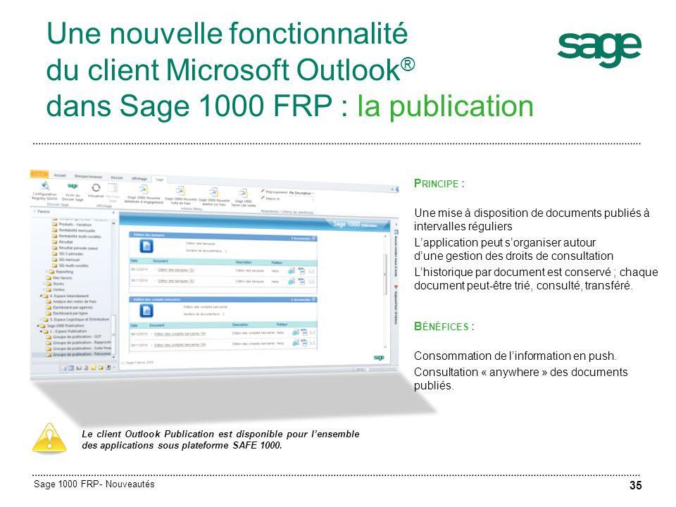 Une nouvelle fonctionnalité du client Microsoft Outlook® dans Sage 1000 FRP : la publication