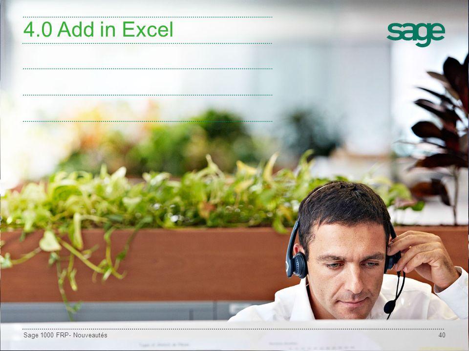 4.0 Add in Excel Sage 1000 FRP- Nouveautés