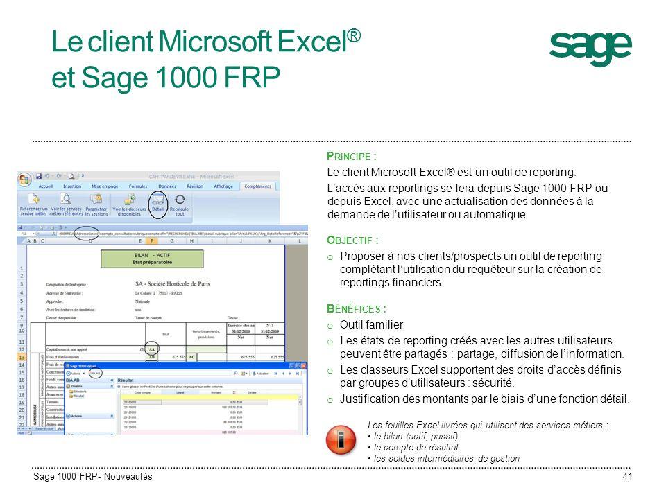 Le client Microsoft Excel® et Sage 1000 FRP