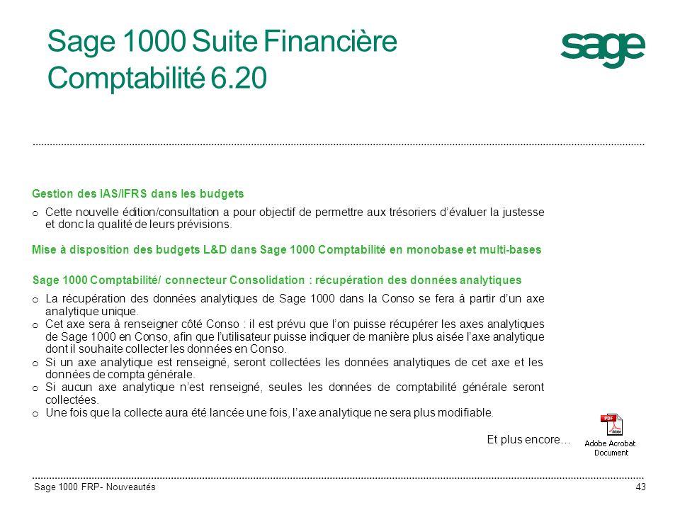 Sage 1000 Suite Financière Comptabilité 6.20
