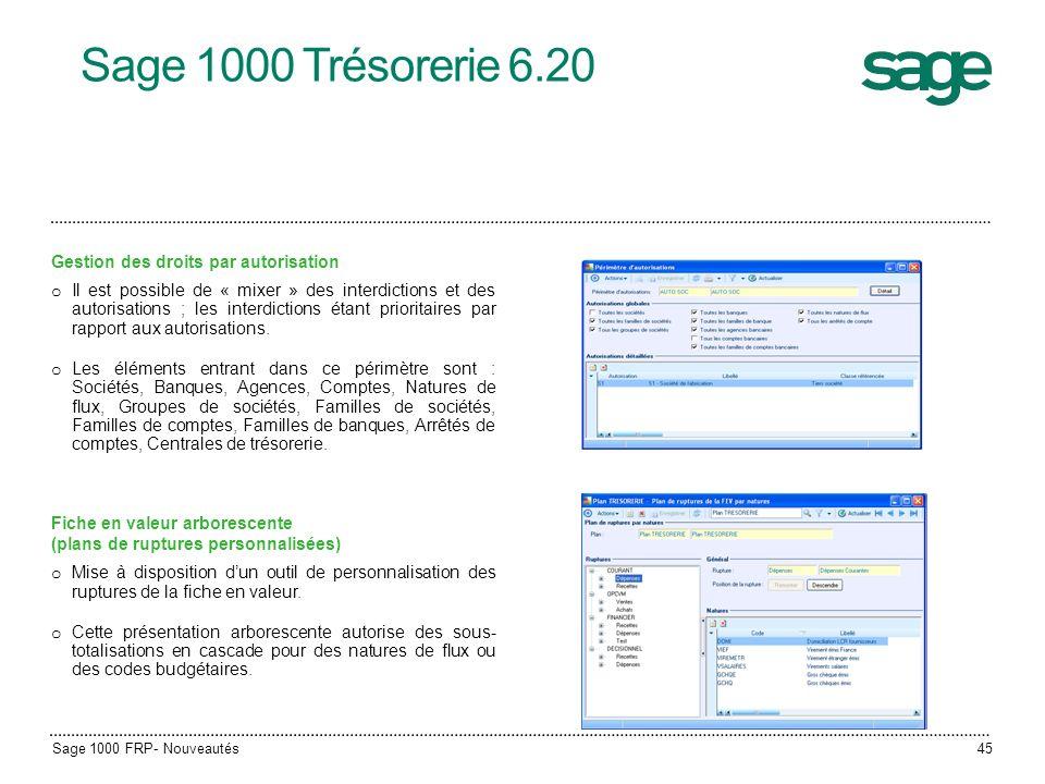 Sage 1000 Trésorerie 6.20 Gestion des droits par autorisation