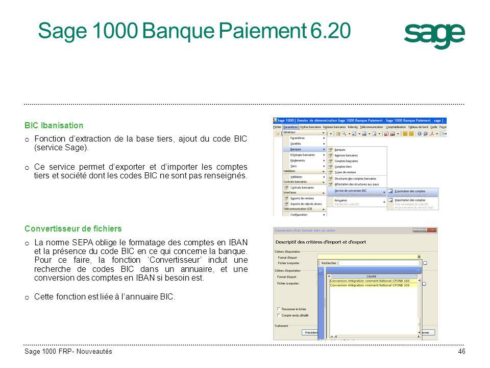 Sage 1000 Banque Paiement 6.20 BIC Ibanisation
