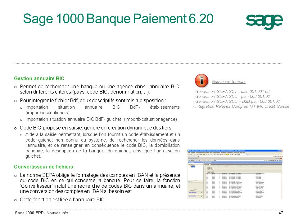 Sage 1000 Banque Paiement 6.20 Gestion annuaire BIC