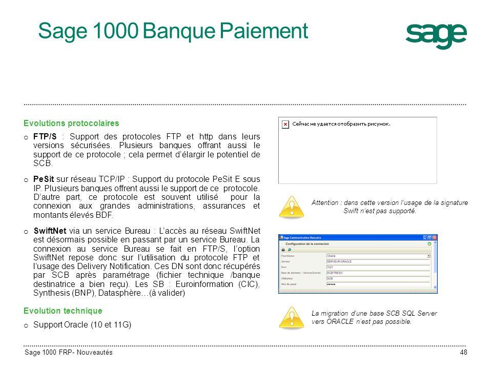 Sage 1000 Banque Paiement Evolutions protocolaires