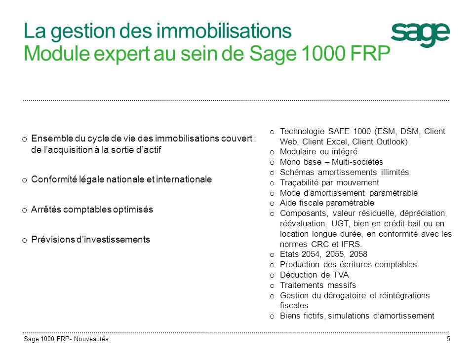 La gestion des immobilisations Module expert au sein de Sage 1000 FRP