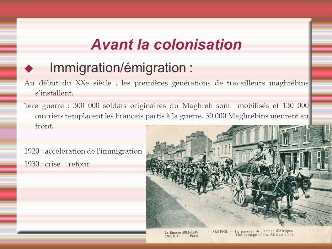 Avant la colonisation Immigration/émigration :