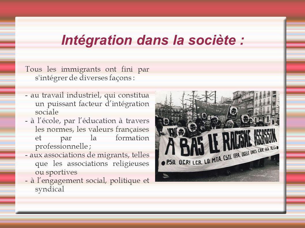 Intégration dans la sociète :