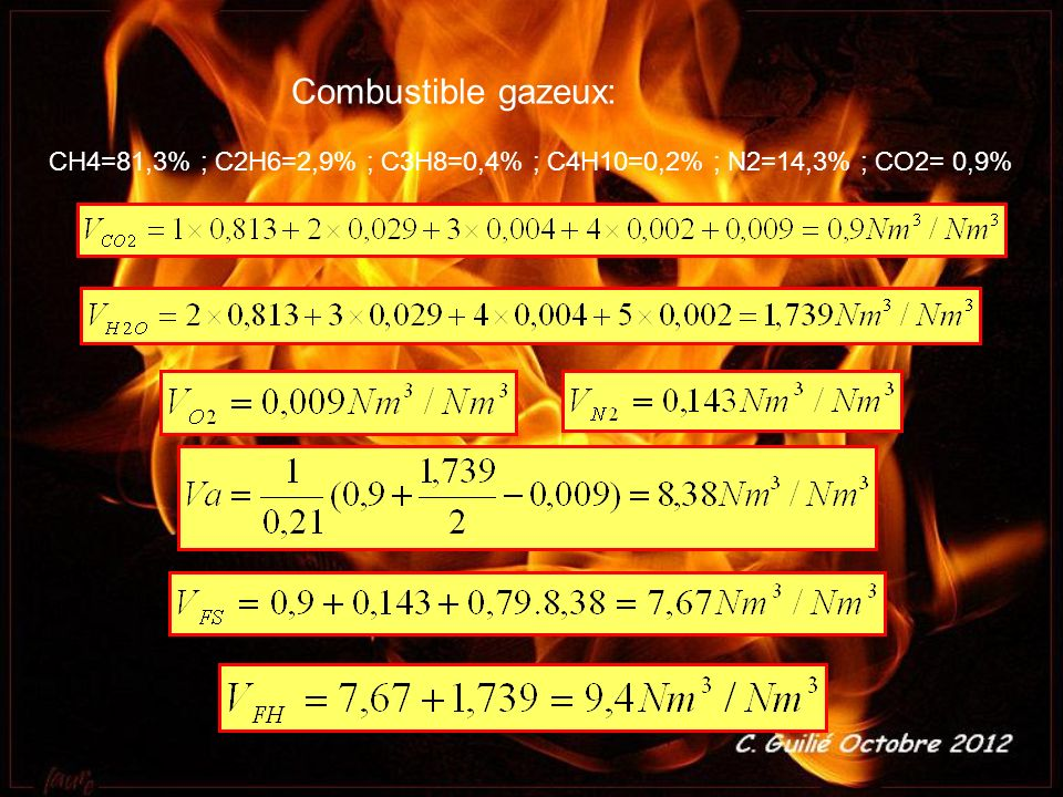 Combustible gazeux: CH4=81,3% ; C2H6=2,9% ; C3H8=0,4% ; C4H10=0,2% ; N2=14,3% ; CO2= 0,9%