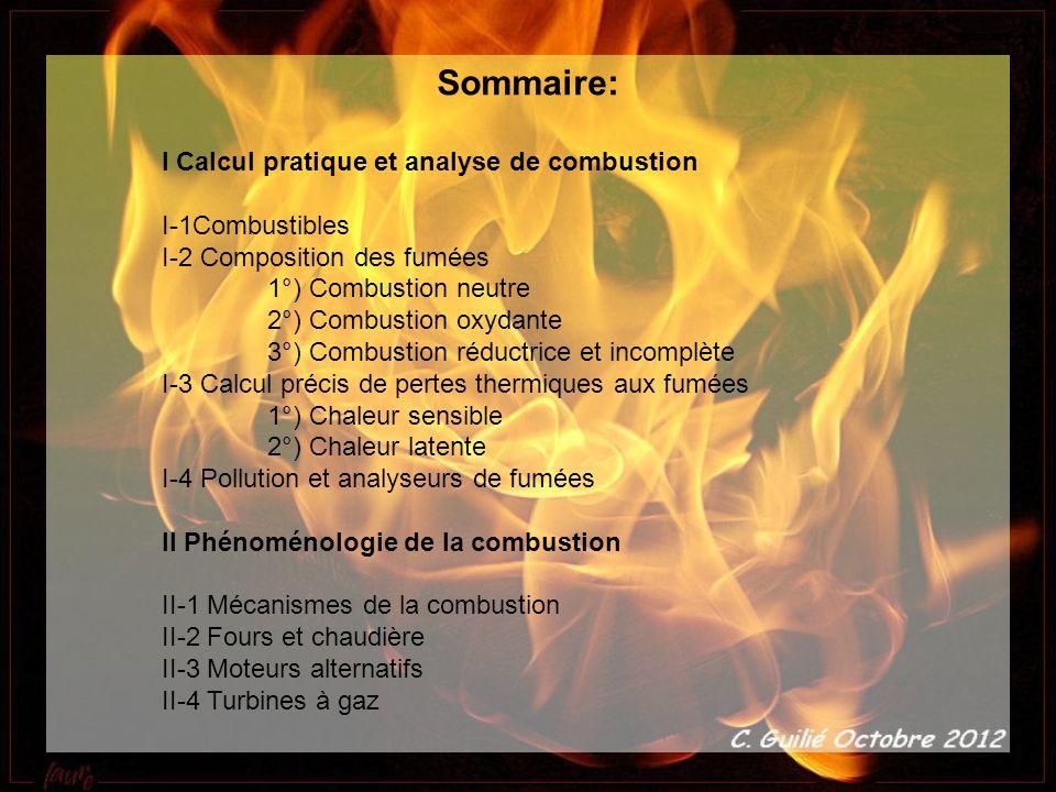 Sommaire: I Calcul pratique et analyse de combustion I-1Combustibles