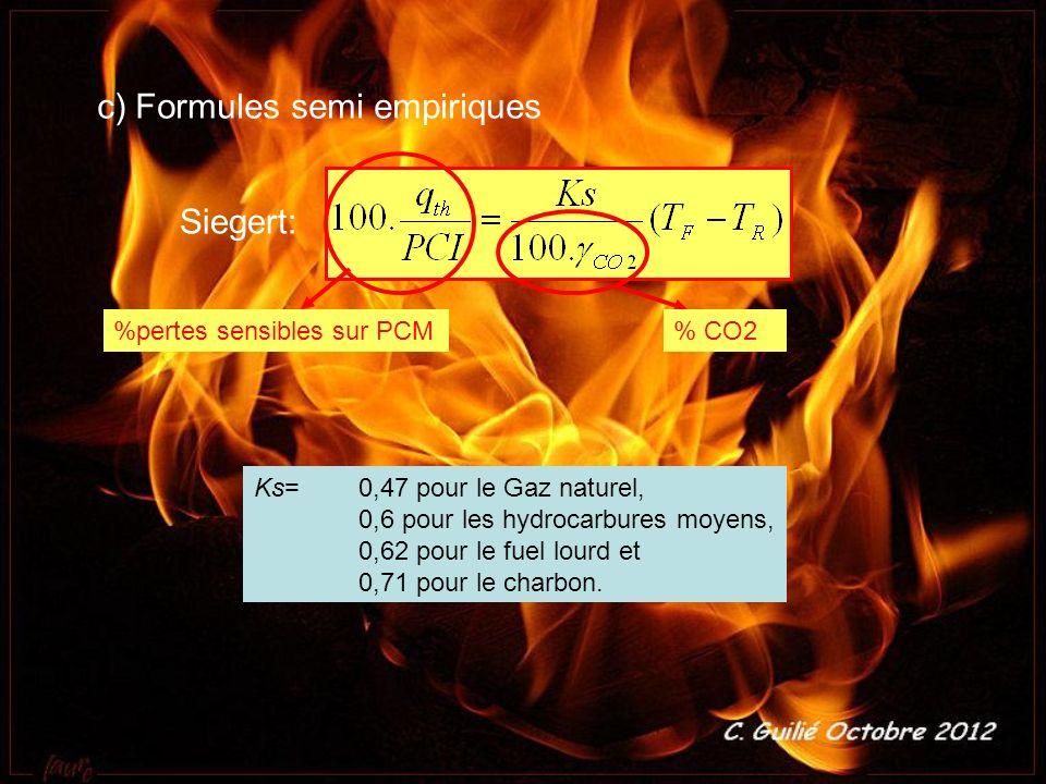 c) Formules semi empiriques