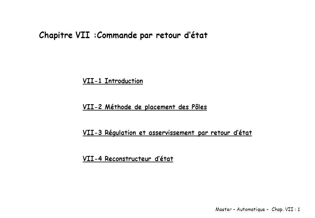 Chapitre VII :Commande par retour d'état