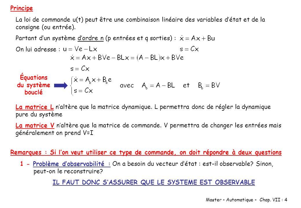 Équations du système bouclé