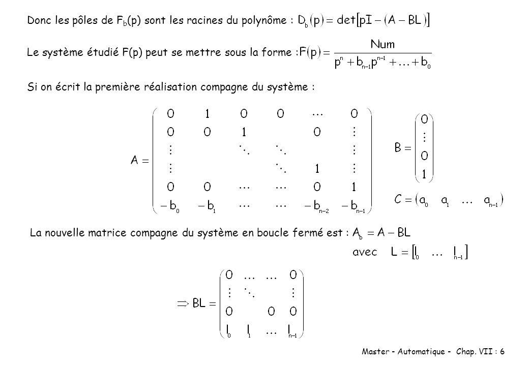Donc les pôles de Fb(p) sont les racines du polynôme :