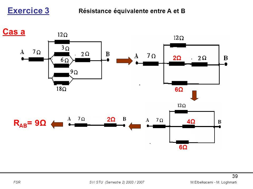 Exercice 3 Cas a RAB= 9Ω Résistance équivalente entre A et B 2Ω 6Ω 2Ω