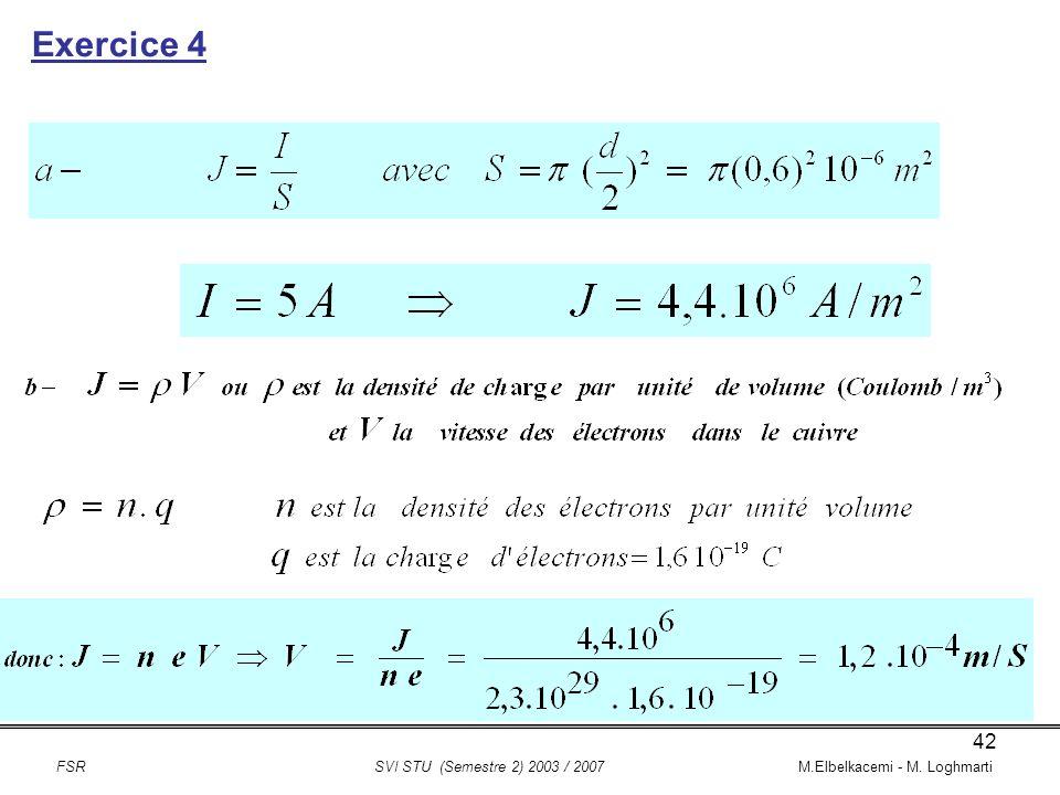 Exercice 4 FSR SVI STU (Semestre 2) 2003 / 2007 M.Elbelkacemi - M. Loghmarti