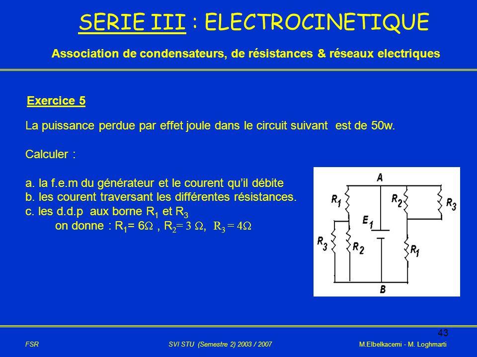 SERIE III : ELECTROCINETIQUE
