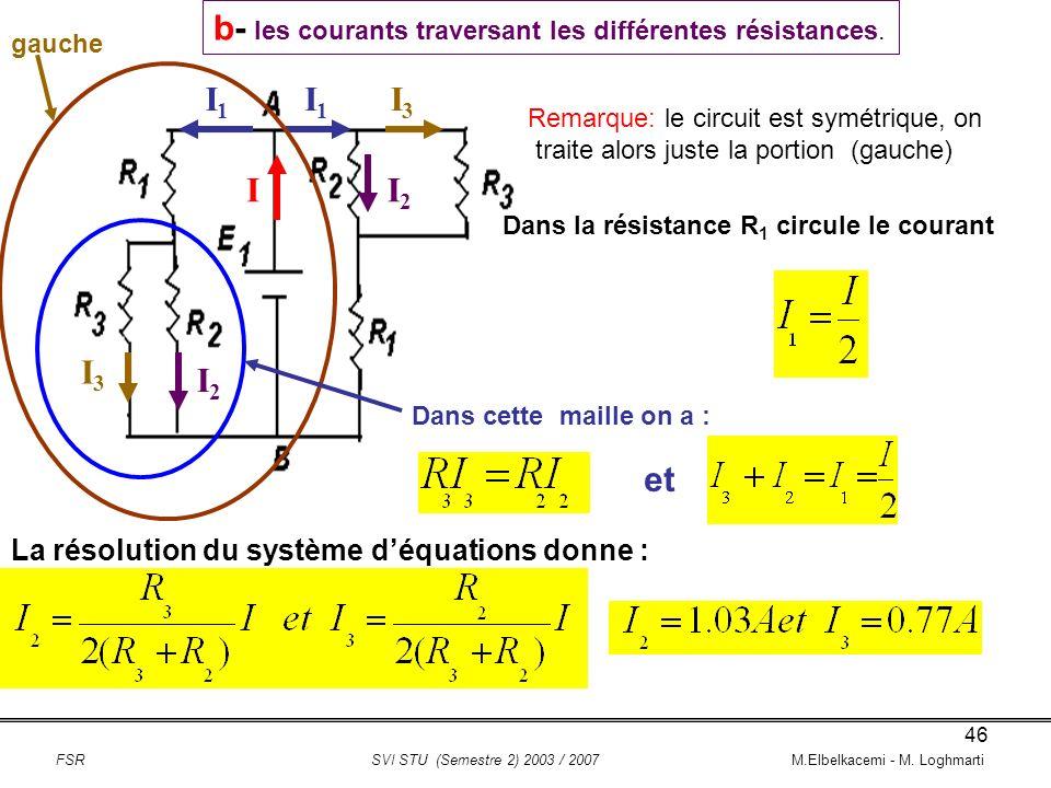 b- les courants traversant les différentes résistances.