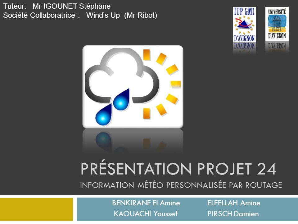 Présentation Projet 24 Information météo personnalisée par routage