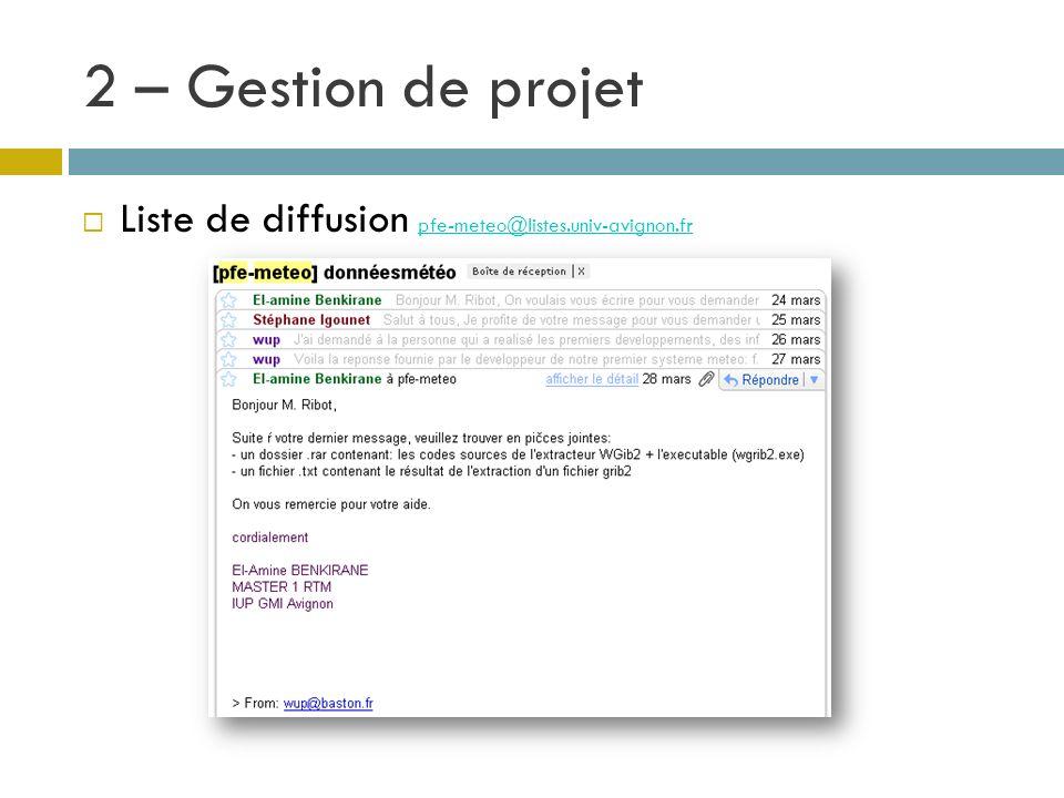 2 – Gestion de projet Liste de diffusion pfe-meteo@listes.univ-avignon.fr