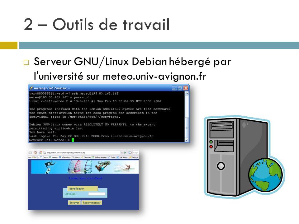 2 – Outils de travail Serveur GNU/Linux Debian hébergé par l université sur meteo.univ-avignon.fr