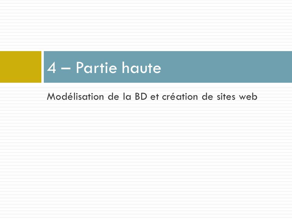 4 – Partie haute Modélisation de la BD et création de sites web