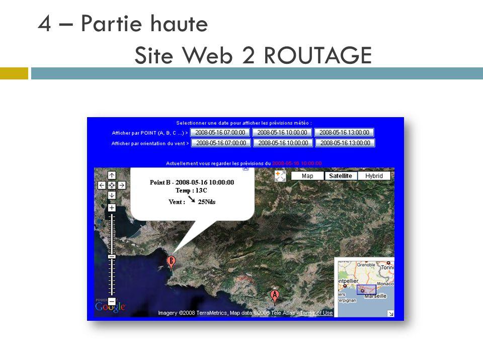 4 – Partie haute Site Web 2 ROUTAGE