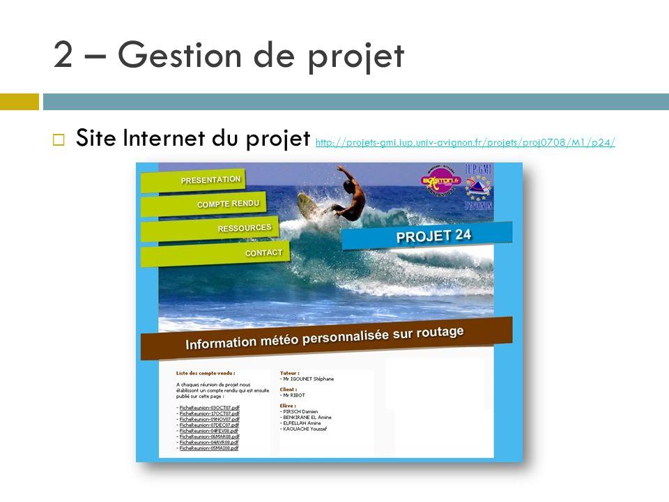 2 – Gestion de projet Site Internet du projet http://projets-gmi.iup.univ-avignon.fr/projets/proj0708/M1/p24/