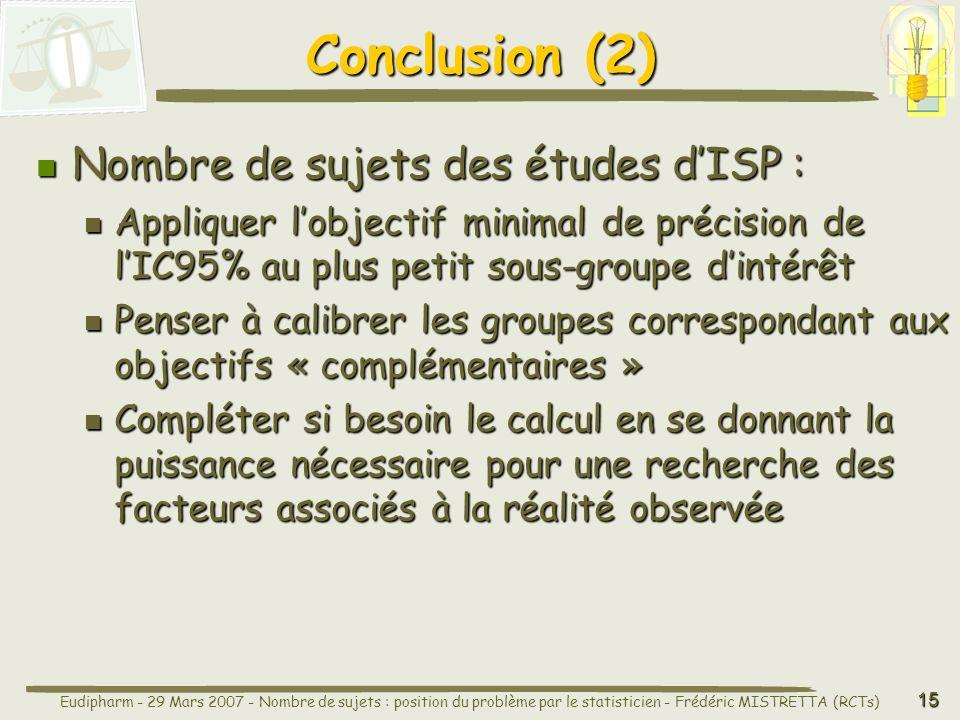 Conclusion (2) Nombre de sujets des études d'ISP :