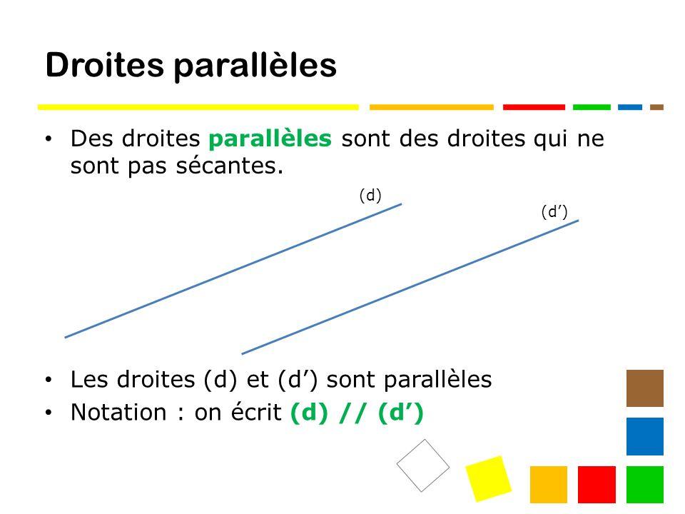 Droites parallèles Des droites parallèles sont des droites qui ne sont pas sécantes. (d) (d') Les droites (d) et (d') sont parallèles.