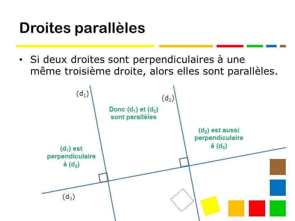Droites parallèles Si deux droites sont perpendiculaires à une même troisième droite, alors elles sont parallèles.
