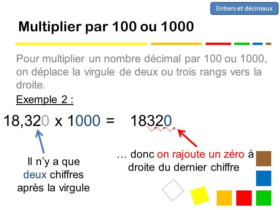 Entiers et décimaux Multiplier par 100 ou 1000.