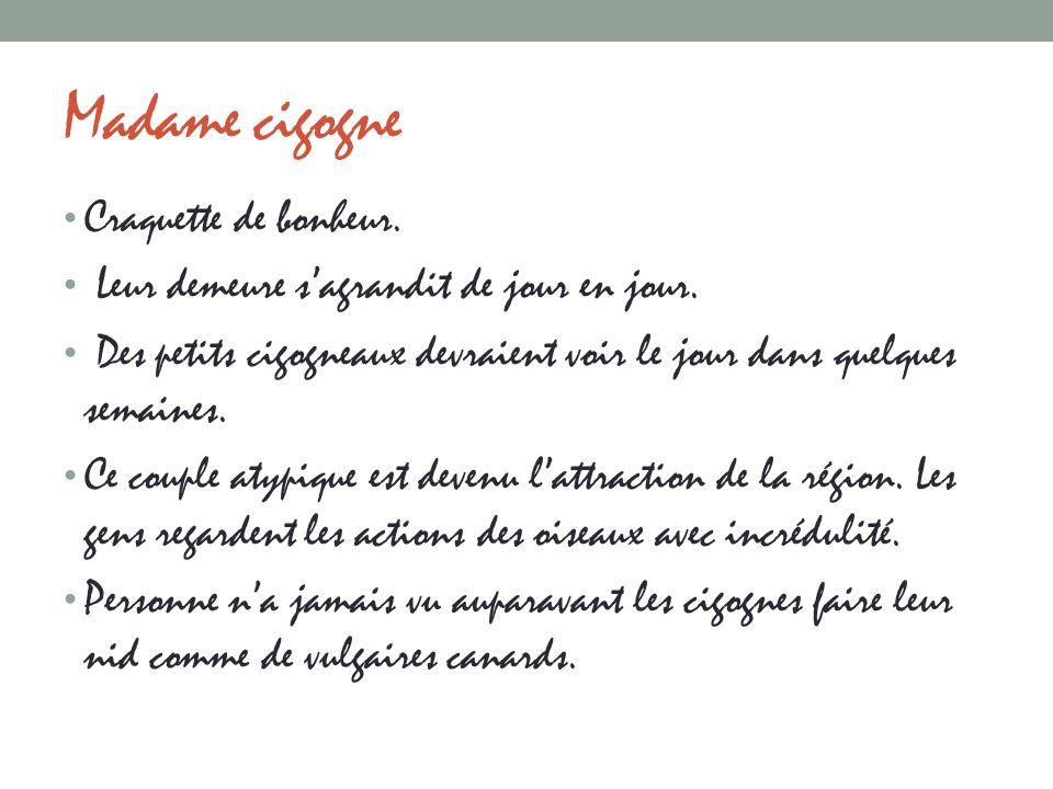 Madame cigogne Craquette de bonheur.