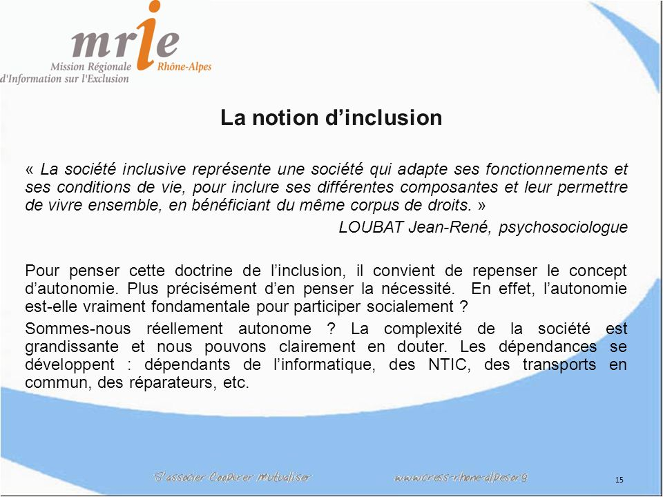 La notion d'inclusion