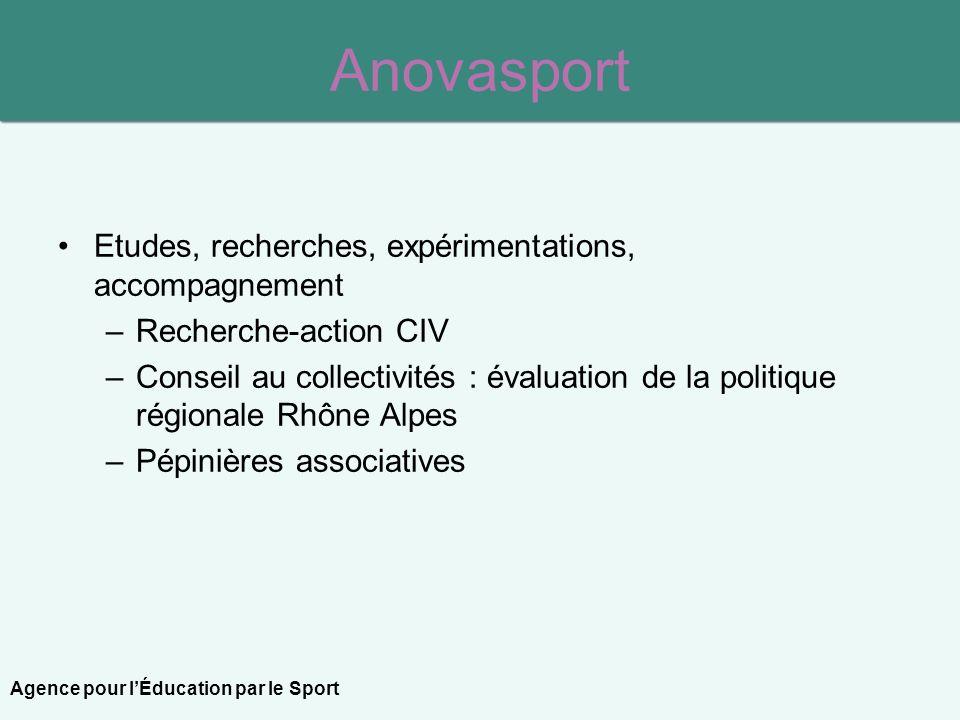 Anovasport Etudes, recherches, expérimentations, accompagnement