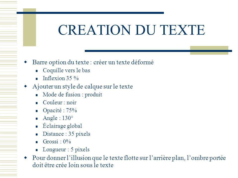 CREATION DU TEXTE Barre option du texte : créer un texte déformé