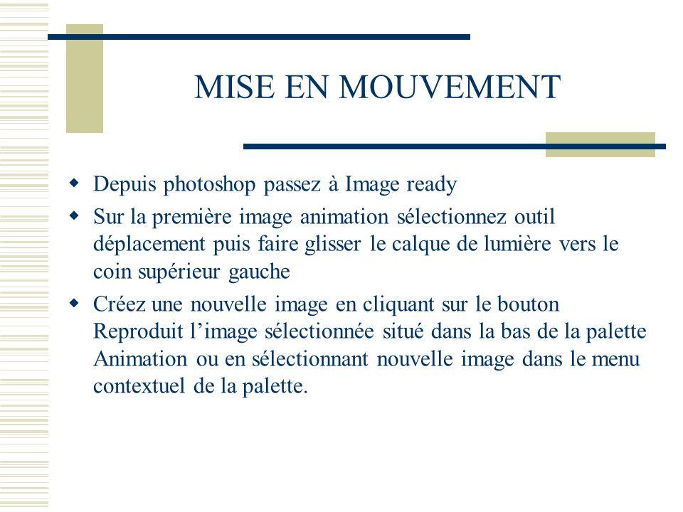 MISE EN MOUVEMENT Depuis photoshop passez à Image ready