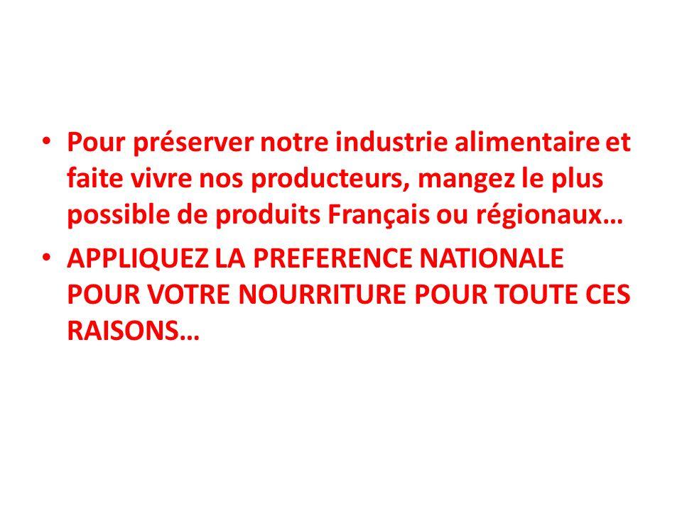 Pour préserver notre industrie alimentaire et faite vivre nos producteurs, mangez le plus possible de produits Français ou régionaux…