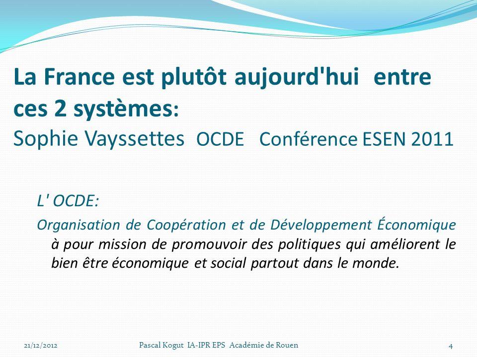 La France est plutôt aujourd hui entre ces 2 systèmes: Sophie Vayssettes OCDE Conférence ESEN 2011